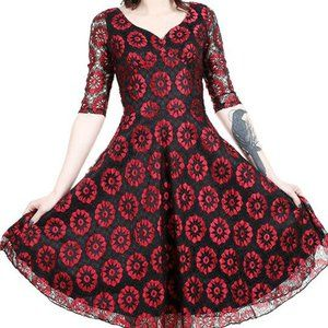 VooDoo Vixen Medium Black Red Lace Dress Pinup